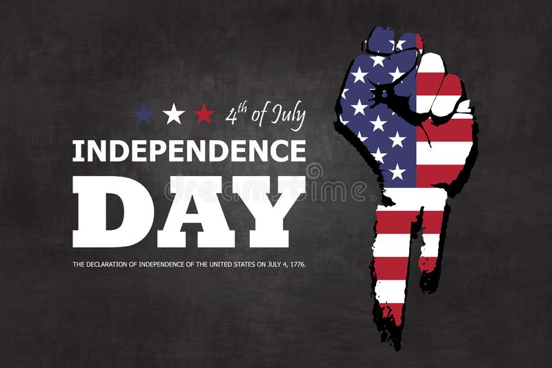 4th of July happy independence day of america background . Fist flat silhouette design with american flag and text on chalkboard. Texture . Vector stock illustration