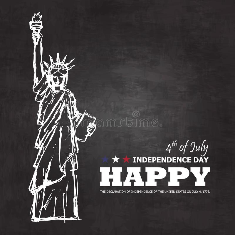 4th of July happy independence day of america background . Statue of liberty drawing design with text on chalkboard texture . stock illustration