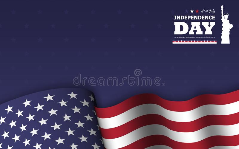 4th of July happy independence day of america background . Statue of liberty flat silhouette design with text and waving american stock illustration