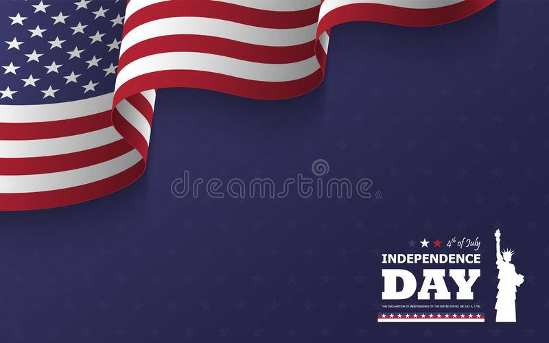 4th of July happy independence day of america background . Statue of liberty flat silhouette design with text and waving american. Flag at corner on blue star royalty free illustration