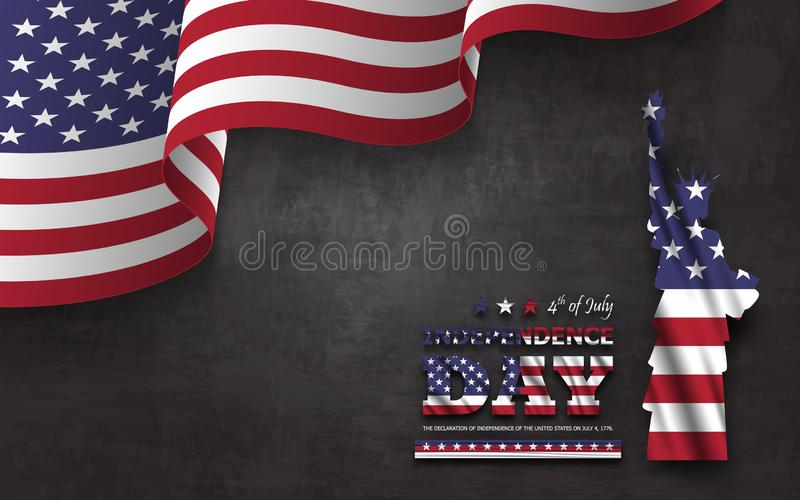 4th of July happy independence day of america background . Statue of liberty with text and waving american flag at corner on royalty free illustration