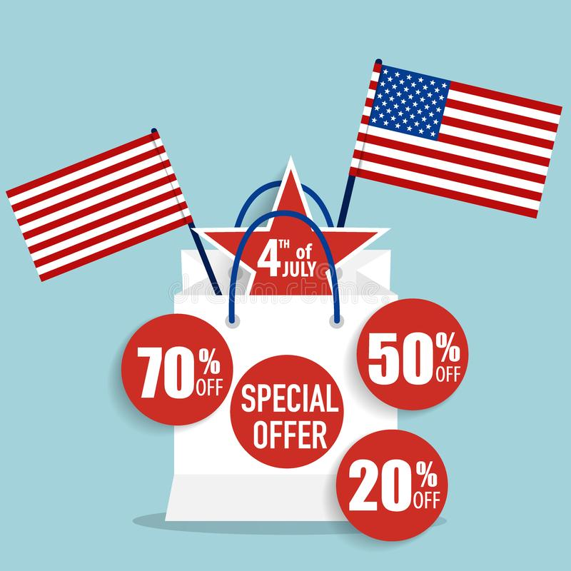 4 th of July. Happy independence day Sale Coupon, voucher, tag. vector illustration
