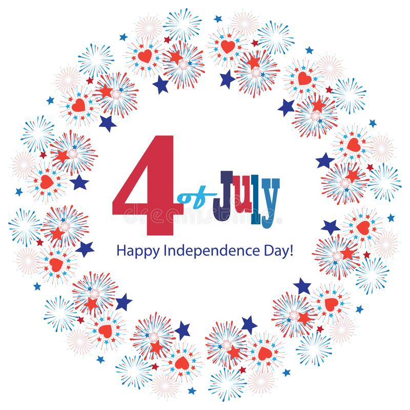 4th of July Happy Independence Day symbols icons card Patriotic American flag, stars fireworks confetti sign vector. Greeting poster 4th of July Happy royalty free illustration