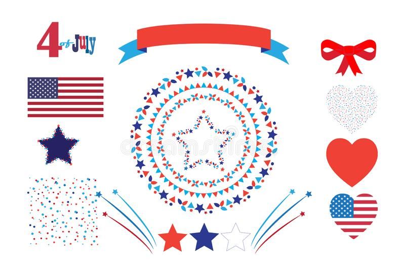 4th of July Happy Independence Day symbols icons set Patriotic American flag, stars fireworks confetti balloons ribbon banner. Set 4th of July Happy Independence vector illustration