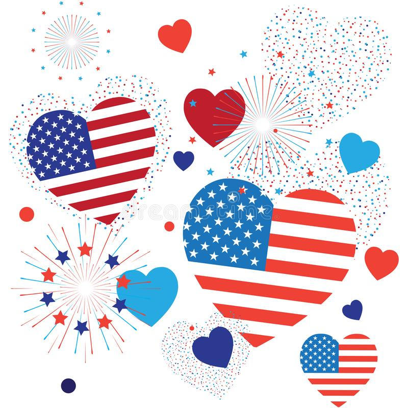 4th of July Happy Independence Day symbols icons set Patriotic American flag, stars fireworks confetti balloons ribbon pattern. 4th of July Happy Independence vector illustration