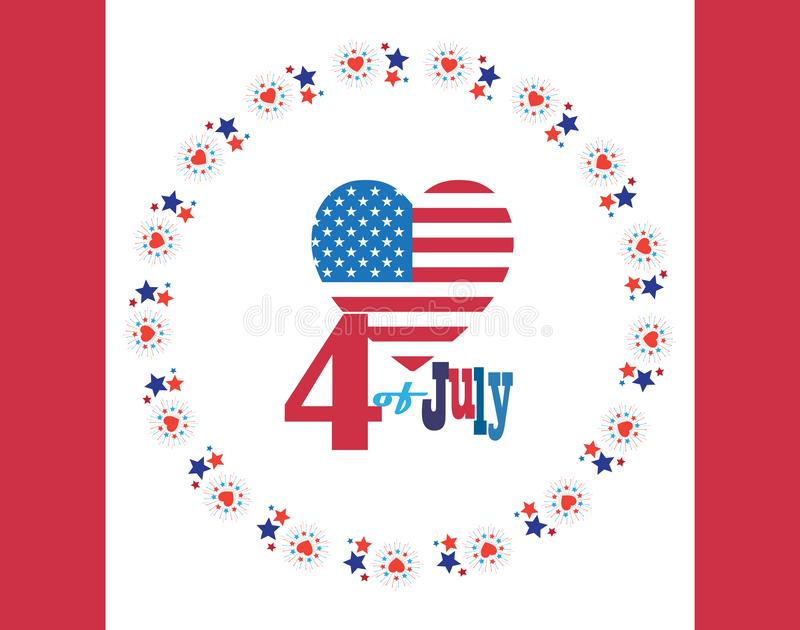 4th of July Happy Independence Day symbols icons sign card Patriotic American flag, stars fireworks confetti balloons vector stock illustration