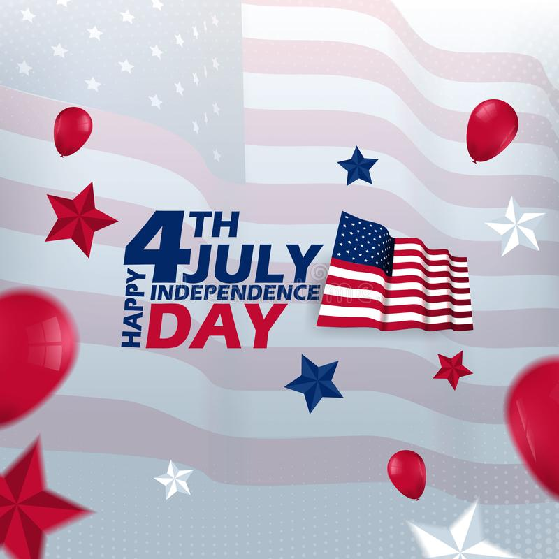 4th july happy independence day Vector Template Design. 4th of july banner vector illustration