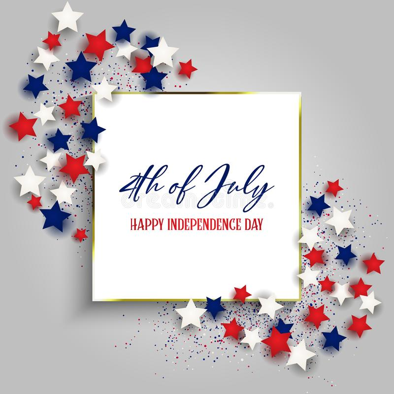 4th July Independence Day background with gold frame and stars royalty free illustration