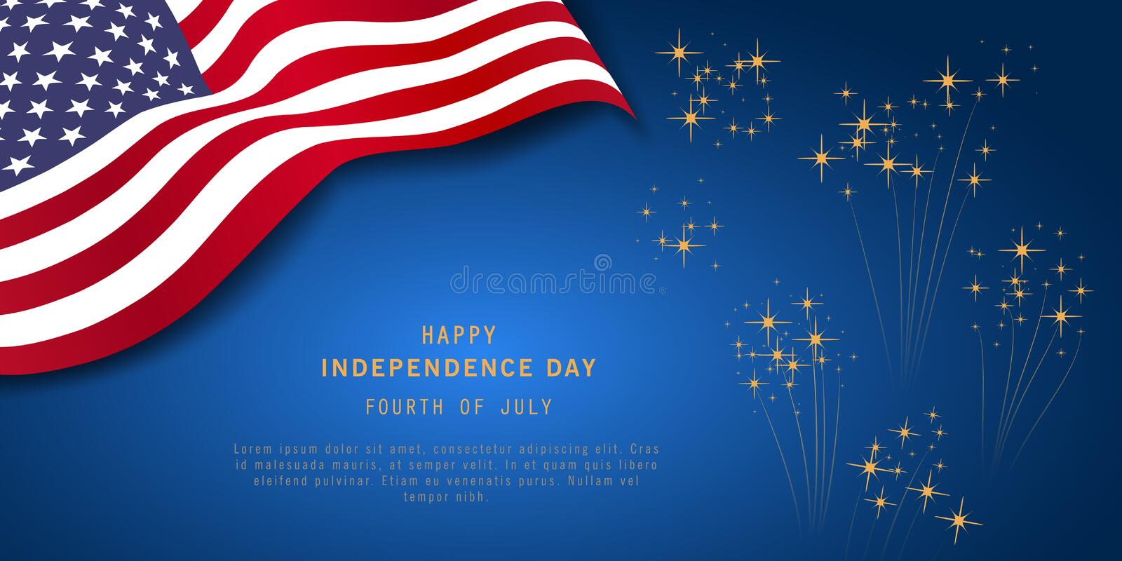4th of July or Independence Day Banner on navy blue background with fireworks and USA flag. Memorial day. President election. Waving flag design for poster royalty free illustration