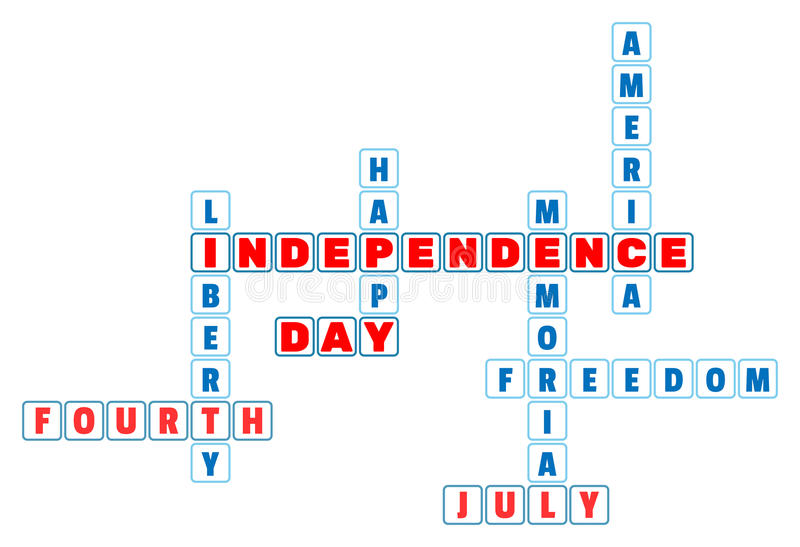 4th July Independence Day crossword in minimal style. stock illustration