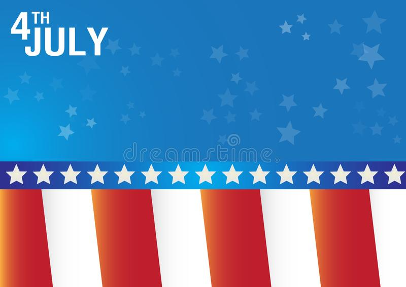 4th July independence day with flags celebration vector background. stock illustration