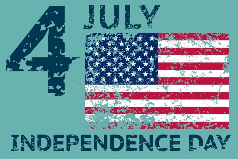 4th July Independence day. Grunge american flag. Patriotic vintage design template. Vector. Illustrationn vector illustration