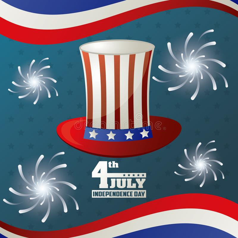 4th july independence day hat flag american fireworks party national stock illustration