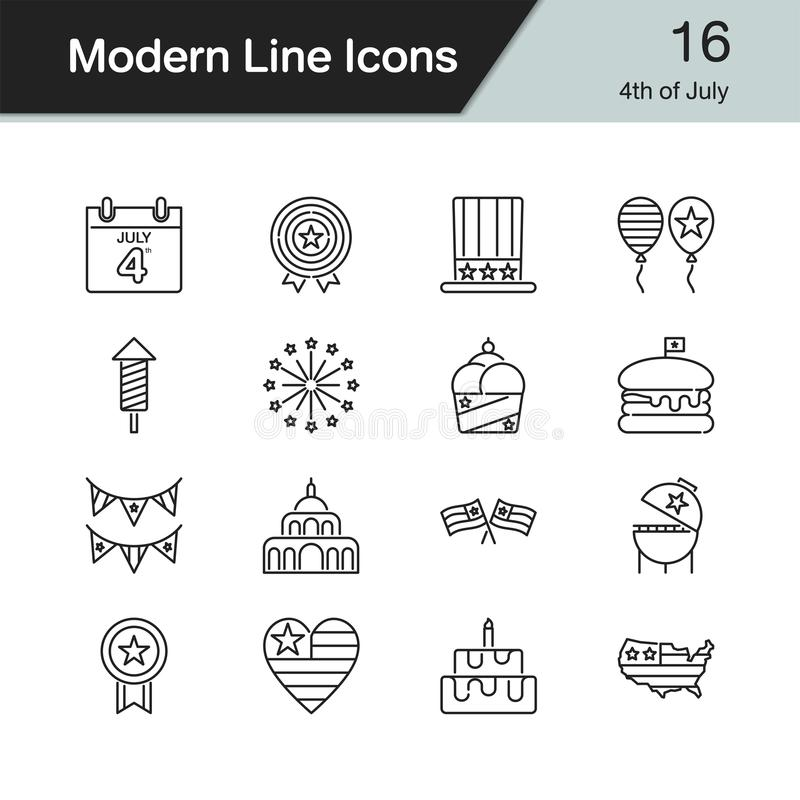 4th of July, independence day icons. Modern line design set 16. For presentation, graphic design, mobile application, web design, infographics. Vector royalty free illustration