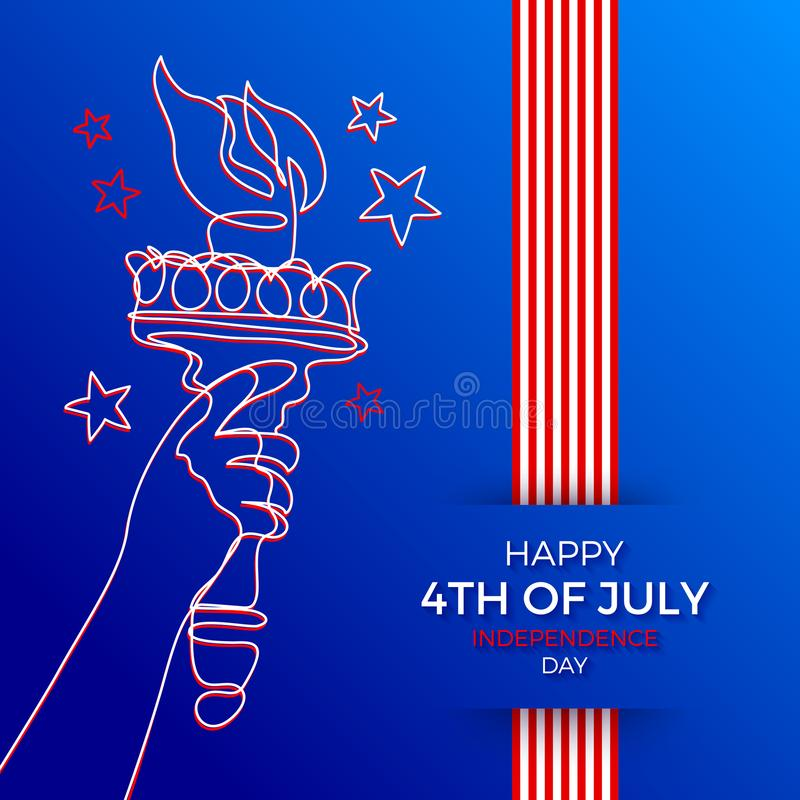 4th of July, Independence day illustration. Line art hand of Statue of liberty with flaming torch and greeting type desig vector illustration