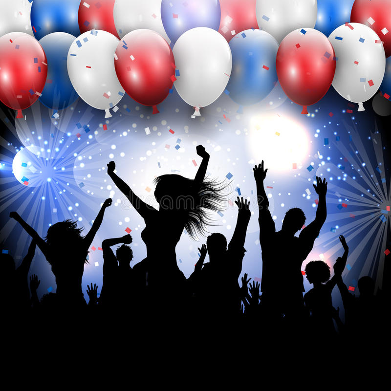 4th July Independence day party background. Silhouette of a party crowd on a 4th July Independence day background royalty free illustration