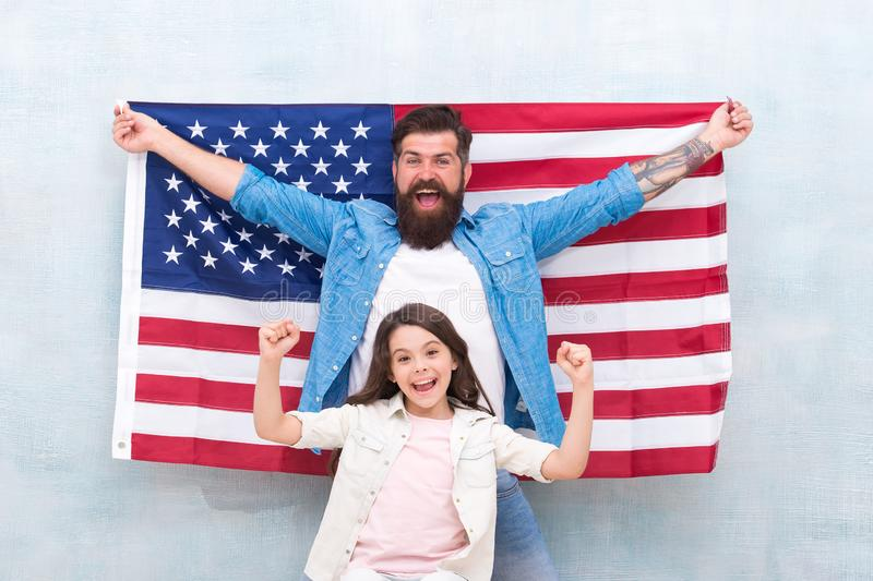 4th of July. Independence day public holiday. Americans celebrate independence day. Father and daughter USA flag. Patriotic family. Independence day is chance royalty free stock images