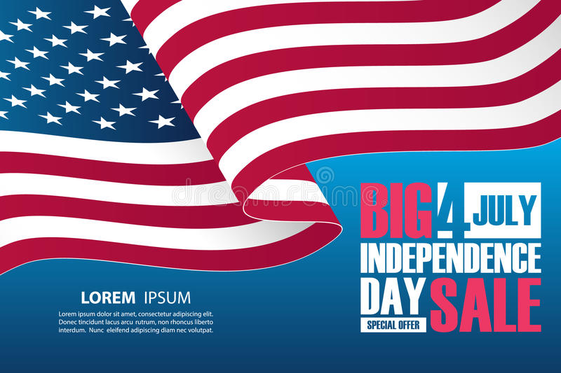 4th of July Independence Day Sale banner with waving american national flag. royalty free illustration