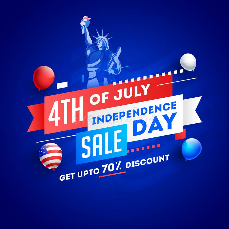 4th Of July, Independence Day Sale poster or template design with Statue of liberty. stock illustration