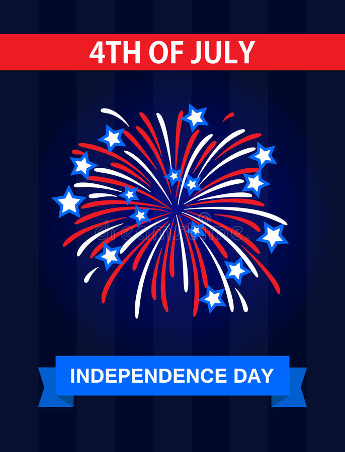 The 4th July, Independence Day in the United States of America. Greetings card. Celebrate it with the firework royalty free illustration