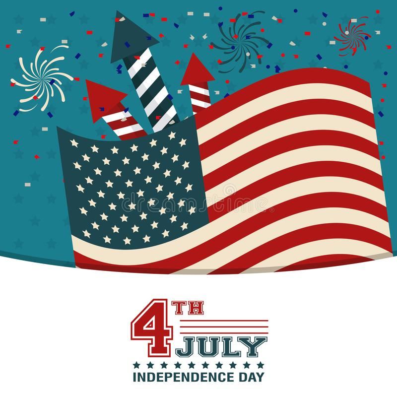 4th july independence day USA flag confetti fireworks decoration happy royalty free illustration
