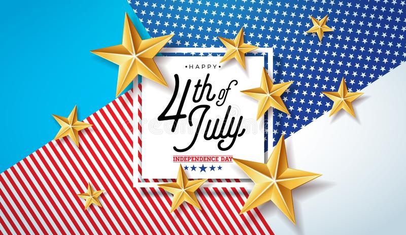 4th of July Independence Day of the USA Vector Illustration. Fourth of July American national Celebration Design with. Stars and Typography Letter on Abstract vector illustration