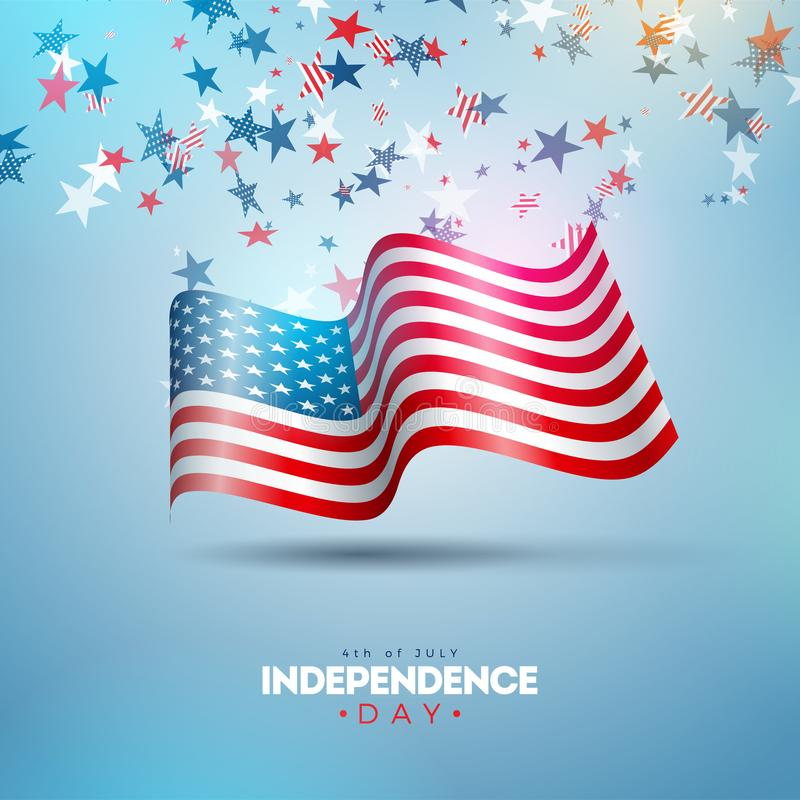 4th of July Independence Day of the USA Vector Illustration. Fourth of July American national Celebration Design with. Flag and Stars on Blue and White Confetti royalty free illustration