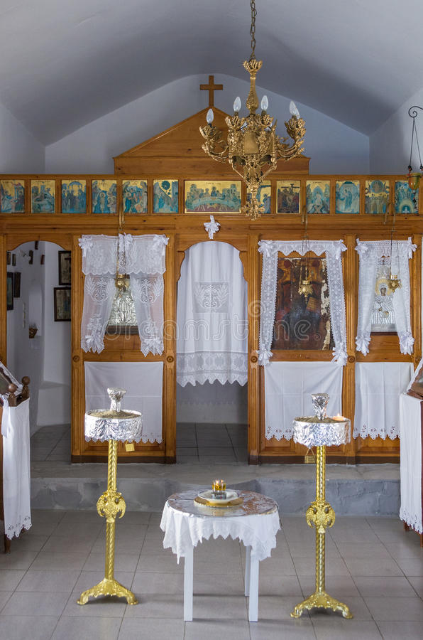 The interior of a small chapel, in Kythnos island, Cyclades, Greece stock images