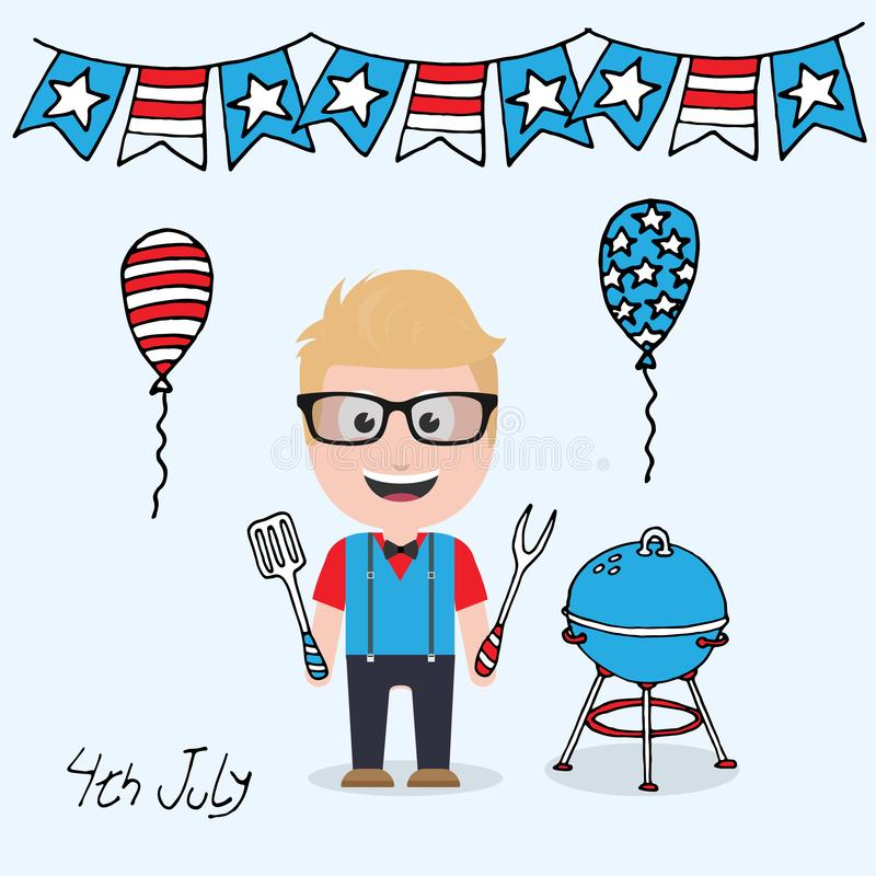 4th july male character. Mascot character with 4th July concept theme stock illustration