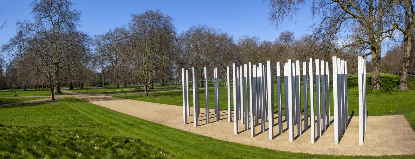 7th July Memorial in Hyde Park. A panoramic view of the Memorial in Hyde Park in memory of the victims of the 7th July London Bombings royalty free stock photography