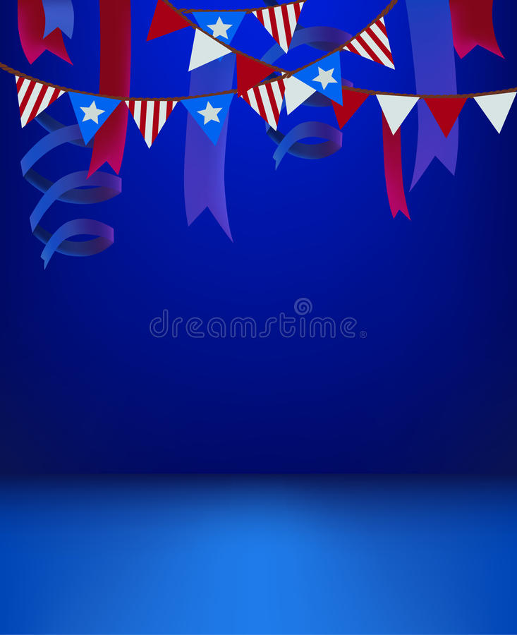 4th of july patriotic background template empty stage scene decorated for presentation product or event invitation american usa i royalty free illustration