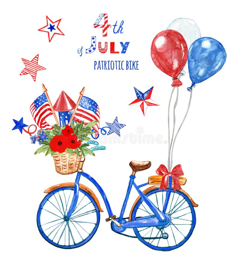 4th of july patriotic bicycle. Watercolor blue bike with US flags, red, white and blue balloons and poppy, isolated. Holiday card. Watercolor hand painted royalty free illustration
