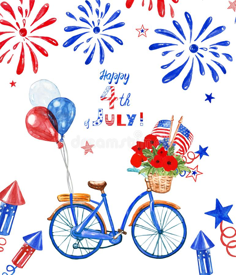 4th of july patriotic bicycle. Watercolor blue bike with US flags, red, white and blue balloons and poppy, isolated. Holiday card stock photo