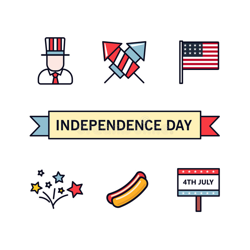 4th July. Patriotic icons. Independence Day of America. Vector icons set. Collection of flat design elements isolated on vector illustration