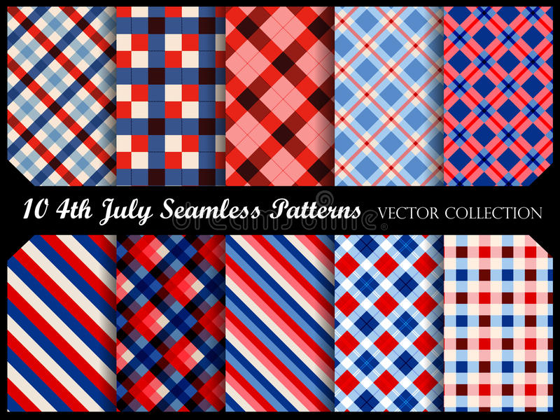 4 th of july patriotic seamless patterns royalty free illustration