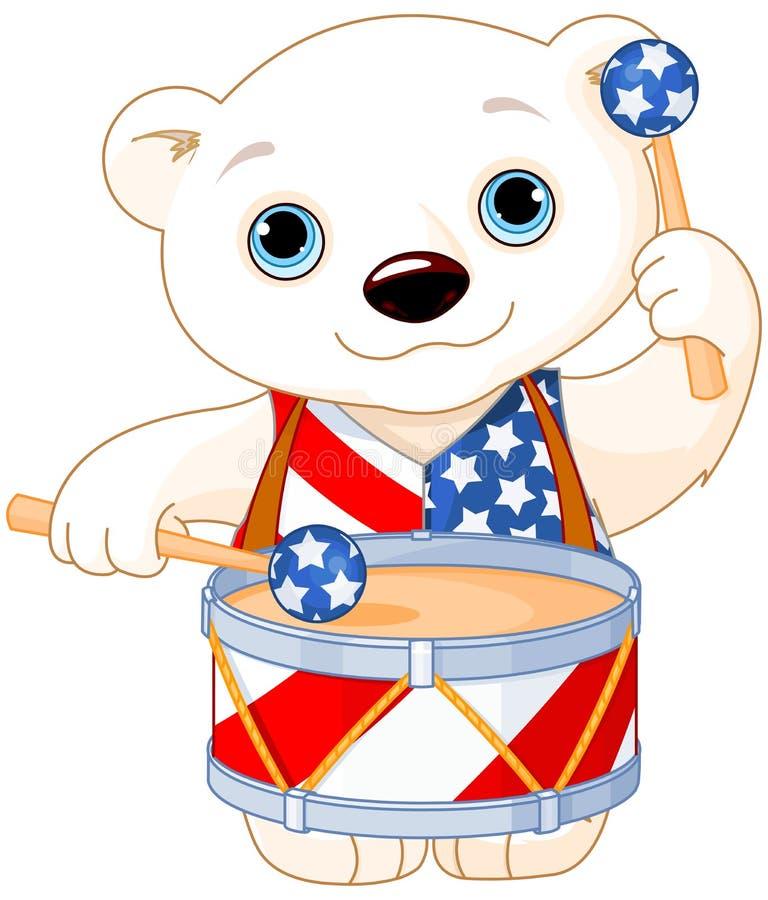 4th of July Polar Bear stock illustration