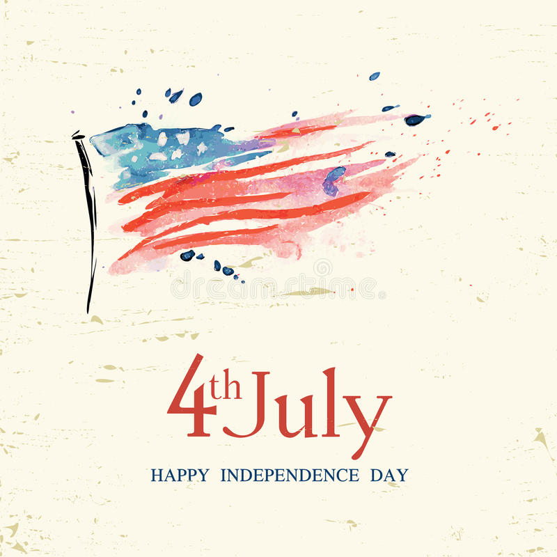 4th of July. Poster, banner or flyer design with stylish text 4th of July on abstract American national flag for Independence Day celebrations in vintage style royalty free illustration