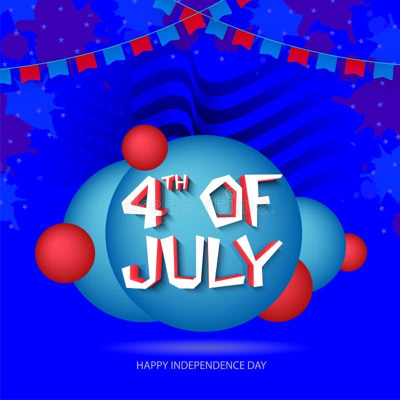 4th of July, poster, banner or flyer design on waves background. 4th of July, poster, flyer or banner design on waves background vector illustration