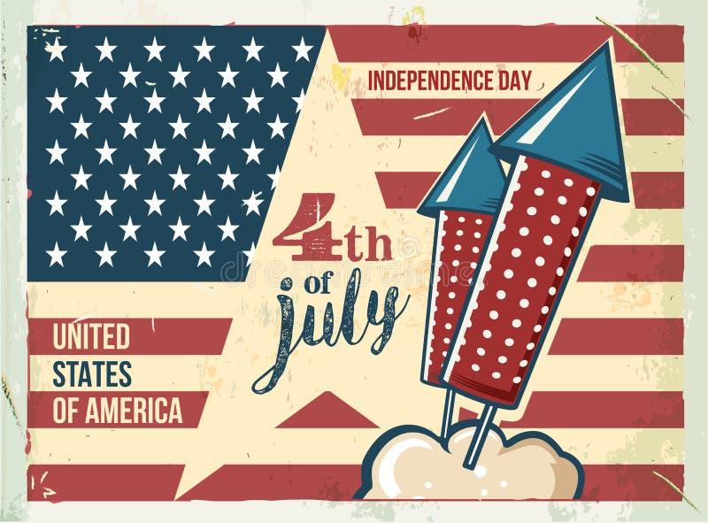4th of July poster. Grunge retro metal sign with fireworks. Independence day. Celebration flyer. Vintage mockup. Old vector illustration