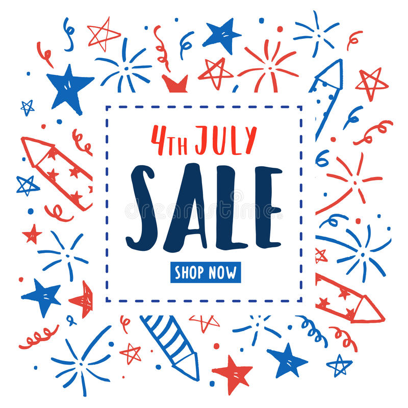 4th of July sale. Independence Day flyer. stock illustration