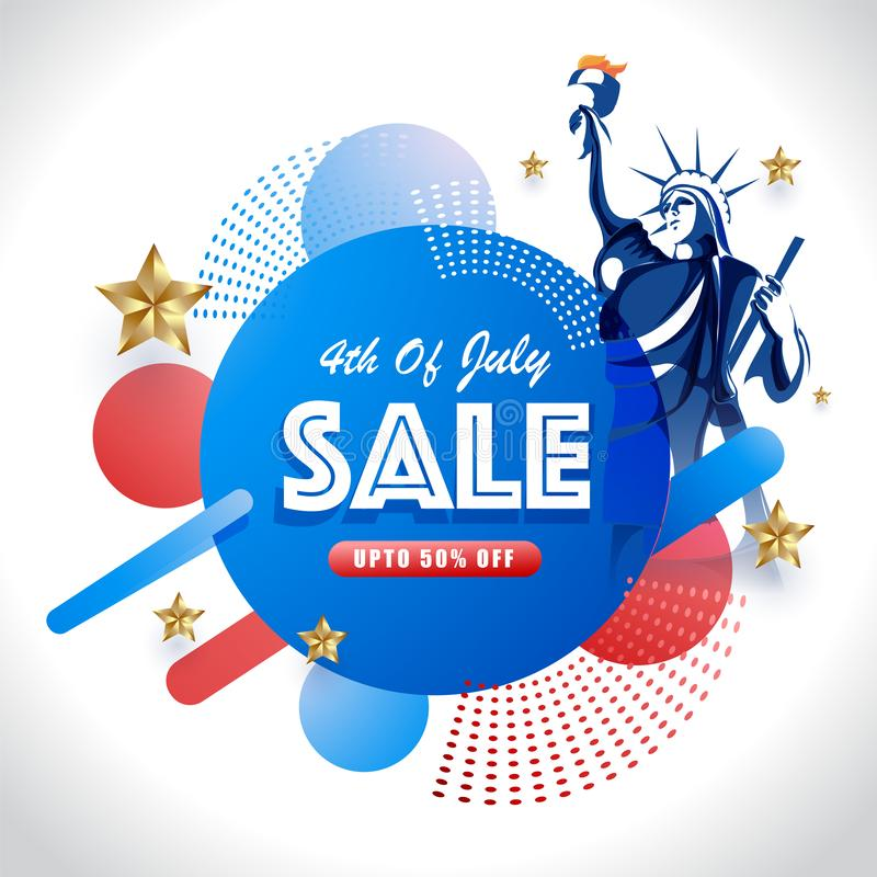 4th Of July Sale poster or template design with 50% discount offer, Statue of liberty and abstract elements. stock illustration
