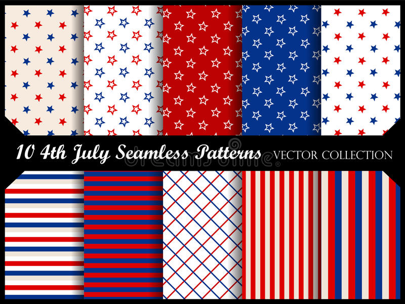 4th of july seamless pattern collection royalty free illustration