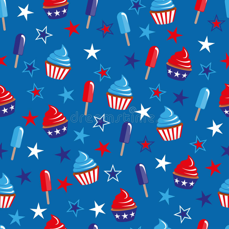 4th of July seamless pattern with cupcakes and ice-cream. EPS vector illustration