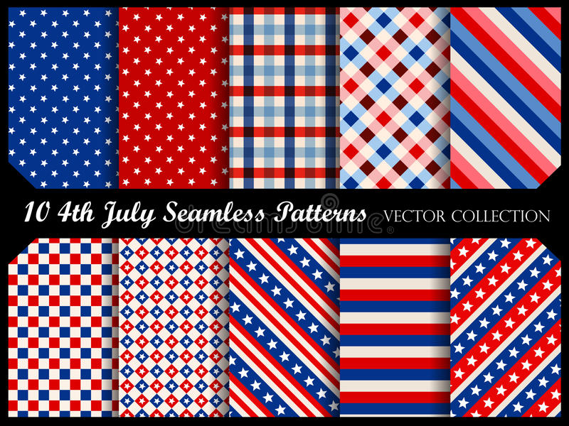 4 th july seamless patterns. Stars and stripes 4 th of july seamless pattern collection royalty free illustration