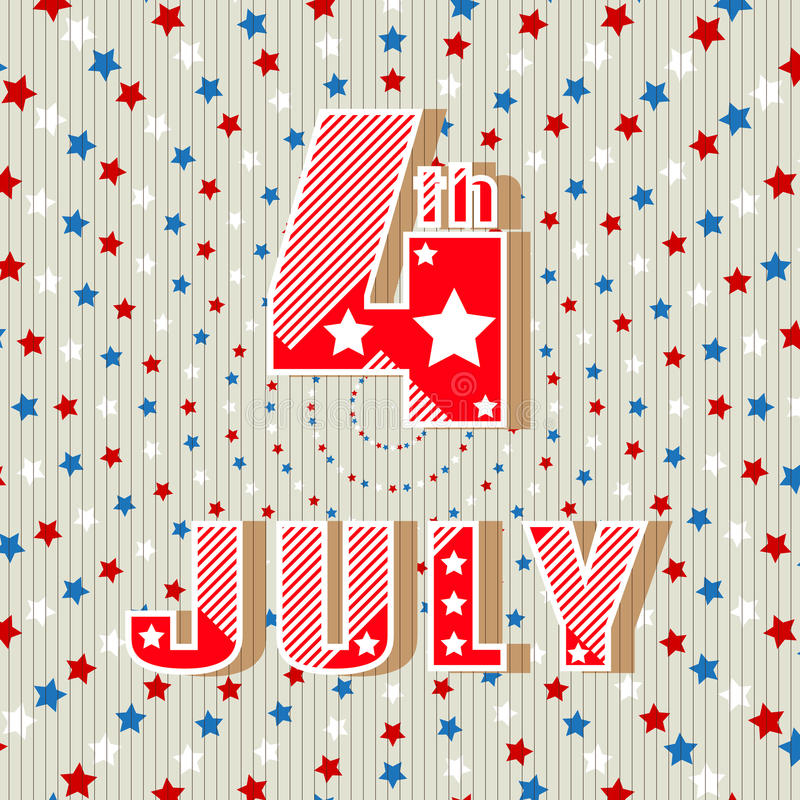 4th of July. Simple style greeting card. Holiday Independence Day July 4th. Bright inscription 4th of July. Vector illustration royalty free illustration