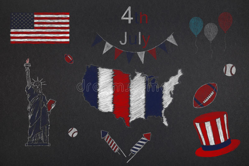 4th of july. Symbols of United States of America relative to 4th of july, Independence day stock illustration