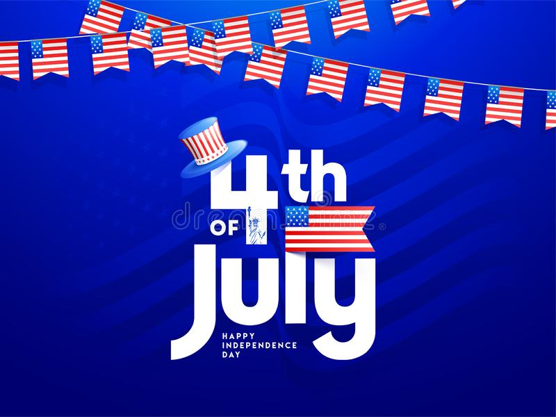 4th Of July text with uncle sam hat in USA flag color for Happy Independence Day royalty free illustration