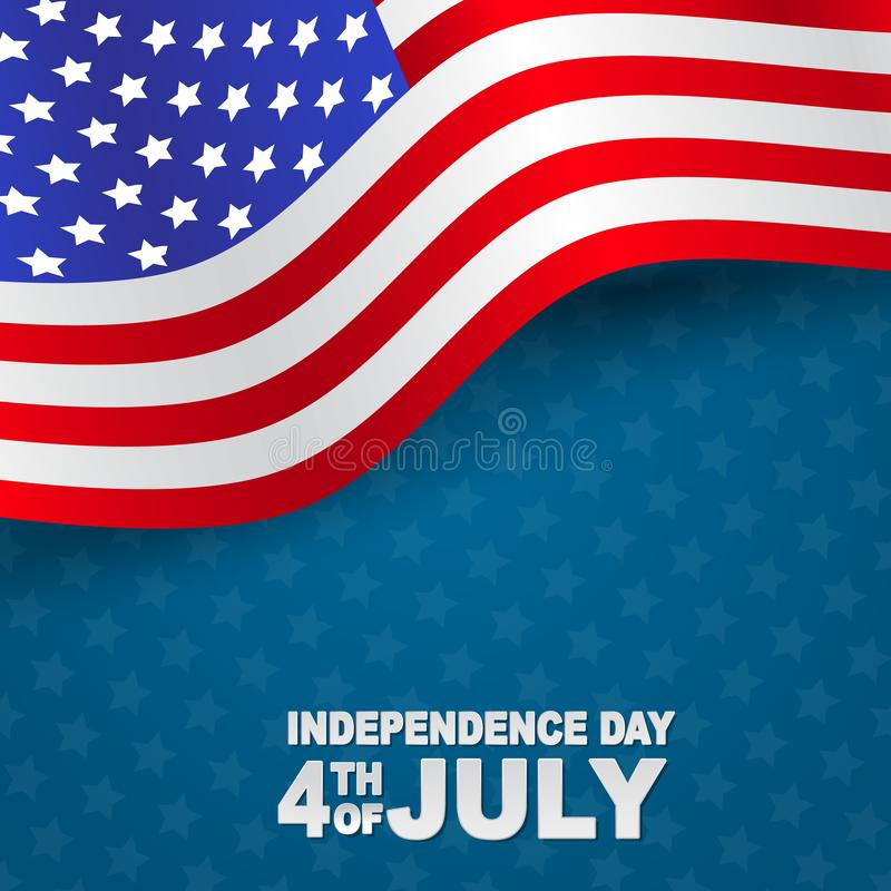 4th of July United States national Independence Day celebration background with American flag. Vector illustration vector illustration