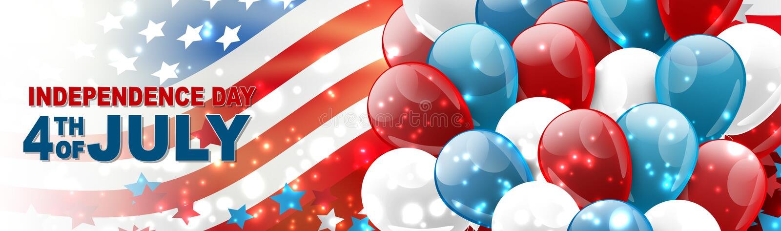 4th of July United States national Independence Day celebration banner with blue, red, and white balloons, confetti, stars. And American flag design concept stock illustration