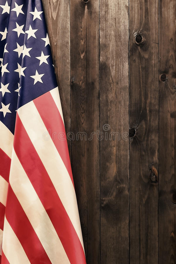4th of July, the US Independence Day, place to advertise, wood background, American flag. United States of America stock photo